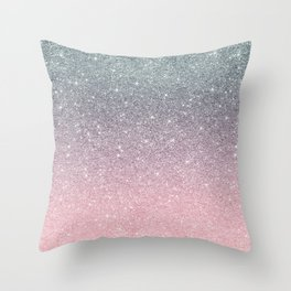 Rose gold Silver Ombre Glitter Sparkle Throw Pillow
