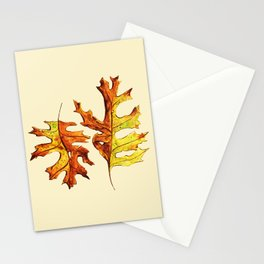 Ink And Watercolor Painted Dancing Autumn Leaves Stationery Cards