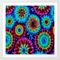 tie dye Art Prints featuring Tie Dye by gypsykissphotography