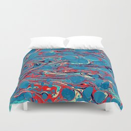 Vintage Marble Blue Watercolor Ink Abstract Pattern Duvet Cover