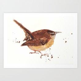 wren, tiny bird, cute birdie, bird painting, songbird, bird lover art Art Print
