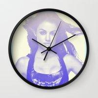 derek hale Wall Clocks featuring Lucy Hale by Dora Birgis