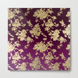 Chic faux gold burgundy ombre watercolor floral Metal Print