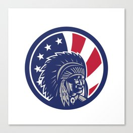 Native American Indian Chief USA Flag Icon Canvas Print