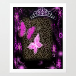 Princess Crown Pink Leopard Art Print