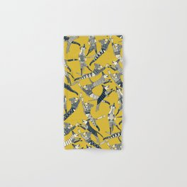 dog party indigo yellow Hand & Bath Towel