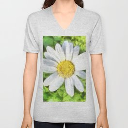Radiant Daisy Watercolor Unisex V-Neck