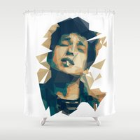 bob dylan Shower Curtains featuring Bob Dylan by Stephanie Keir