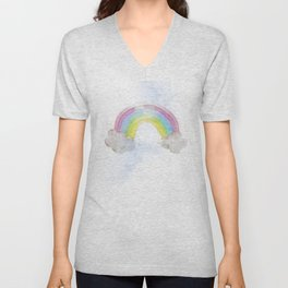 Rainbow Watercolour and Gold Sprinkles Art Print Unisex V-Neck