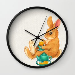 Tea Time Bunny Wall Clock