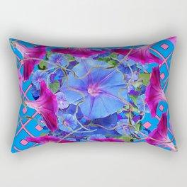 Purple & Pink Morning Glories Blue Pattern Art Rectangular Pillow