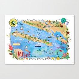 Illustrated Island Map of Mljet Canvas Print