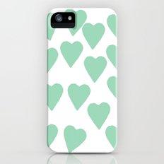 Hearts Mint iPhone (5, 5s) Slim Case