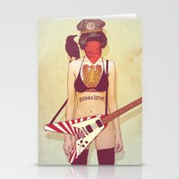 punk rock Stationery Cards featuring Punk Rock Raven by FlushDelay