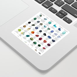 crystals gemstones identification Sticker