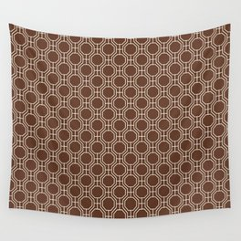 Mid-Century Modern Octagon Pattern , Brown and White Wall Tapestry