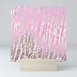 Abstract girly pink ivory rose gold texture pattern Mini Art Print