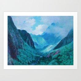 Iao Valley, Maui, Hawaiian landscape pinging by D. Howard Hitchcock Art Print