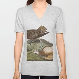 Esquimaux curlew, Birds of America, Audubon Plate 208 Unisex V-Neck