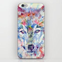 WOLF watercolor portrait.1 iPhone Skin