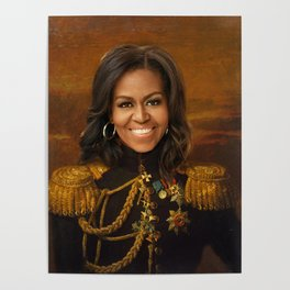 Michelle Obama Poster, Classical Painting, Regal art, General, First Lady, Democrat, Political Poster