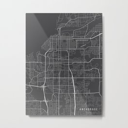 Anchorage Map, Alaska USA - Charcoal Portrait Metal Print