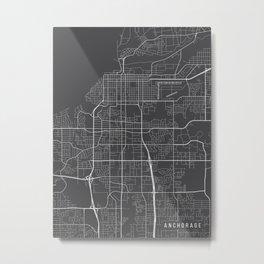 Anchorage Map, Alaska USA - Charcoal Portrait Metal Print