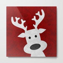 Christmas reindeer red marble Metal Print