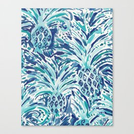 PINEAPPLE WAVE Blue Painterly Watercolor Canvas Print