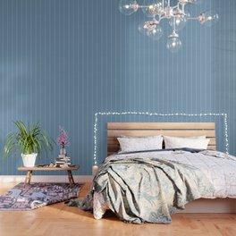 French Blue Linen Stripe Wallpaper