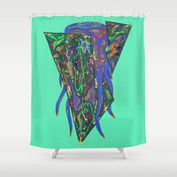 squid Shower Curtains featuring Squid by oddscenes