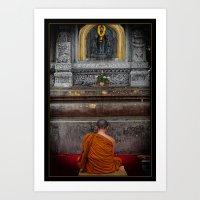 Seeking Blessings From Budha Art Print