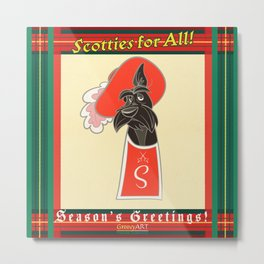 Scotties for All - Seasons greetings Metal Print