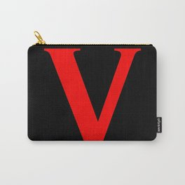 V MONOGRAM (RED & BLACK) Carry-All Pouch