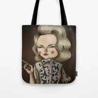 mad men Tote Bags featuring Betty Draper (Mad men) by Maripili