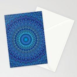 Blue Spiritual Flower Garden Mandala Stationery Cards