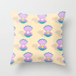 Space Birth of Venus | Astronaut Seashell | Pearl in Seashell | Under the Sea | pulps of wood Throw Pillow