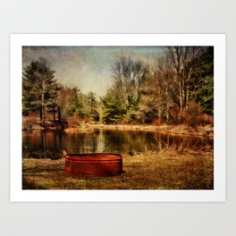 Playing at the Pond Art Print