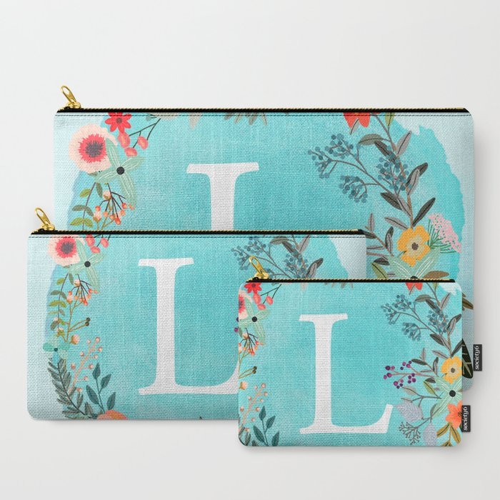 Personalized_Monogram_Initial_Letter_L_Blue_Watercolor_Flower_Wreath_Artwork_CarryAll_Pouch_by_ABA2Life__Set_of_3