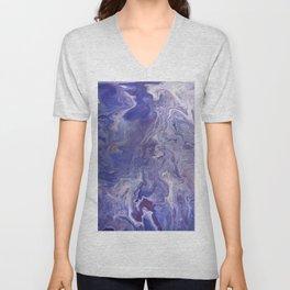 Fluid Art Acrylic Painting, Pour 4 - Purple, Blue & White Blended Color Unisex V-Neck