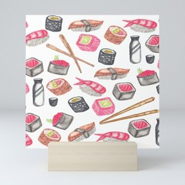 Cute Trendy Watercolor Sushi Sake and Chopsticks Mini Art Print