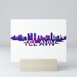 Tel Aviv Israel Skyline Scissor Cut Giant Text Mini Art Print