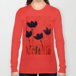 Wild flowers blue collage Long Sleeve T-shirt
