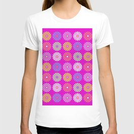 Pastel Flowers Pattern (On Purple/Pink) T-shirt