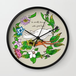 Tarachand's Floral Wreath and Bird with Mother Teresa quote Wall Clock