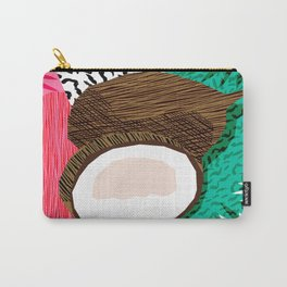 Bada Bing - memphis throwback tropical coconuts food vegan nature abstract illo neon 1980s 80s style Carry-All Pouch