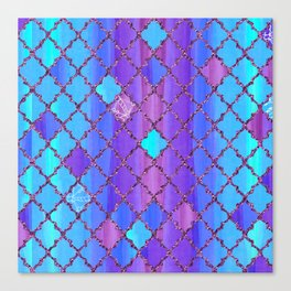Moroccan Tile Pattern In Purple And Aqua Blue Canvas Print