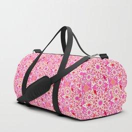 Mandala Pattern, Fuchsia, Coral and Peach Duffle Bag