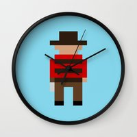 freddy krueger Wall Clocks featuring Freddy Krueger / A Nightmare on Elm Street by Pixel Icons