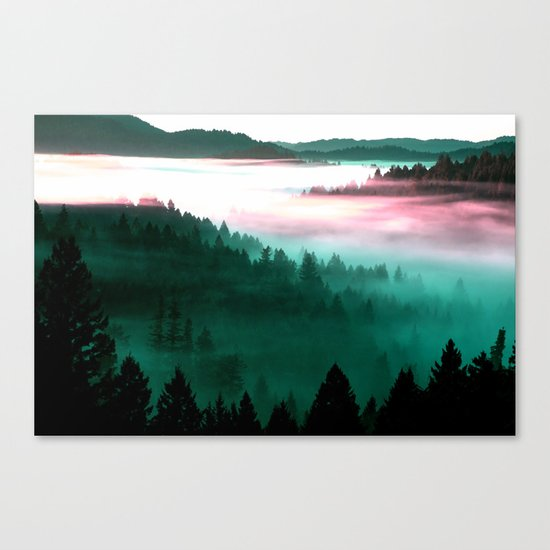 Misty Mountains Morning : Magenta Mauve Teal Canvas Print